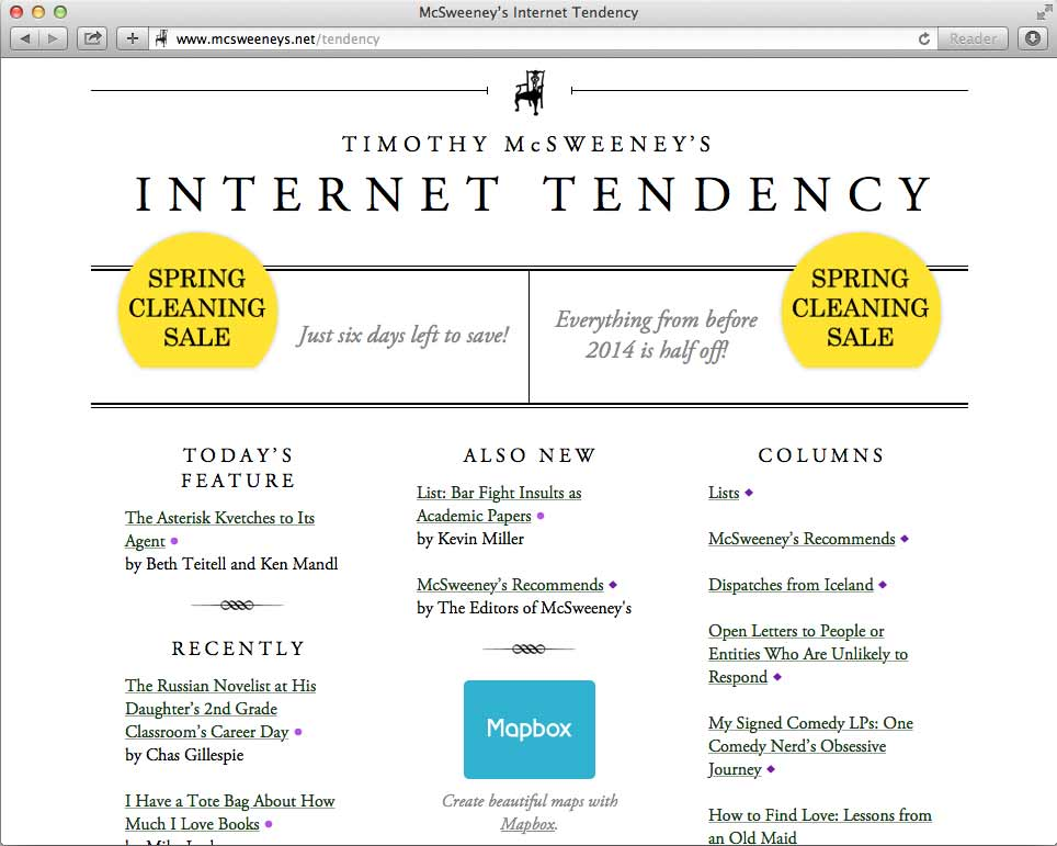 Literary Spotlight: McSweeney's Internet Tendency