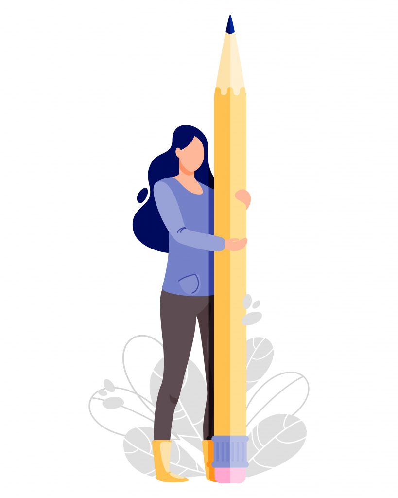 A woman stands with an oversized pencil pointed towards the sky. The hard edits: Why every writer needs an editor/friend.