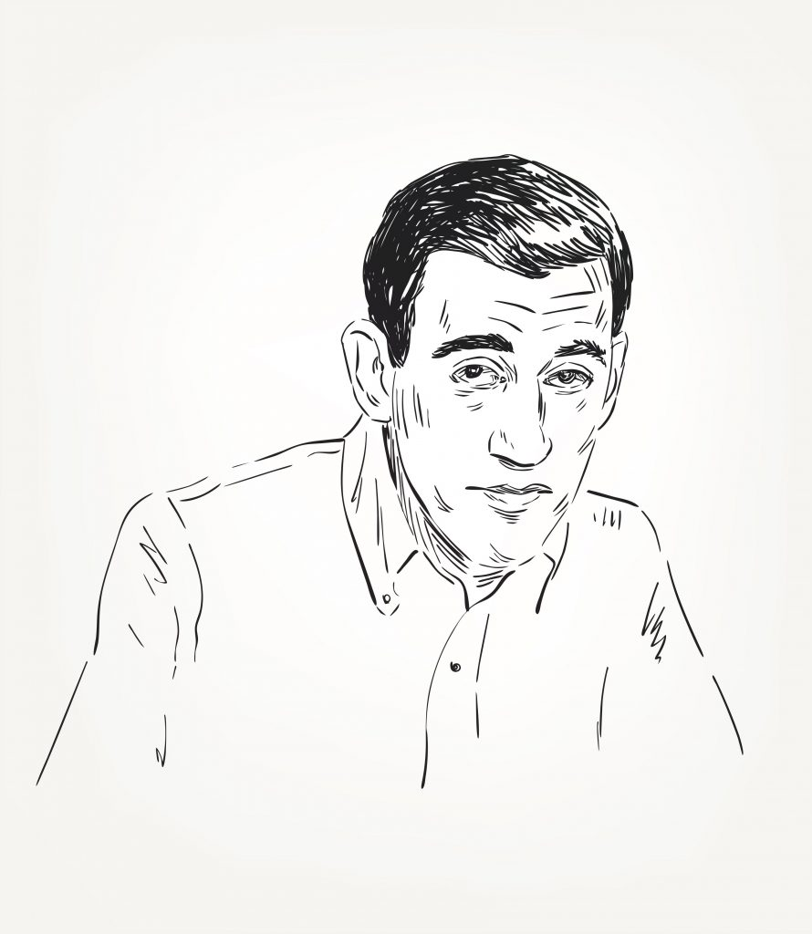 An illustrated portrait of J.D. Salinger.