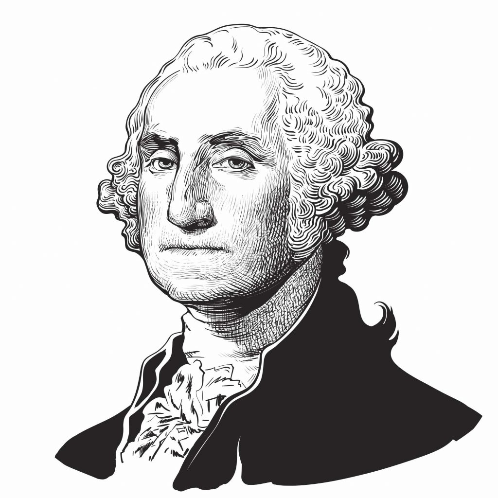 Black-and-white portrait of George Washington, one of America's founding fathers