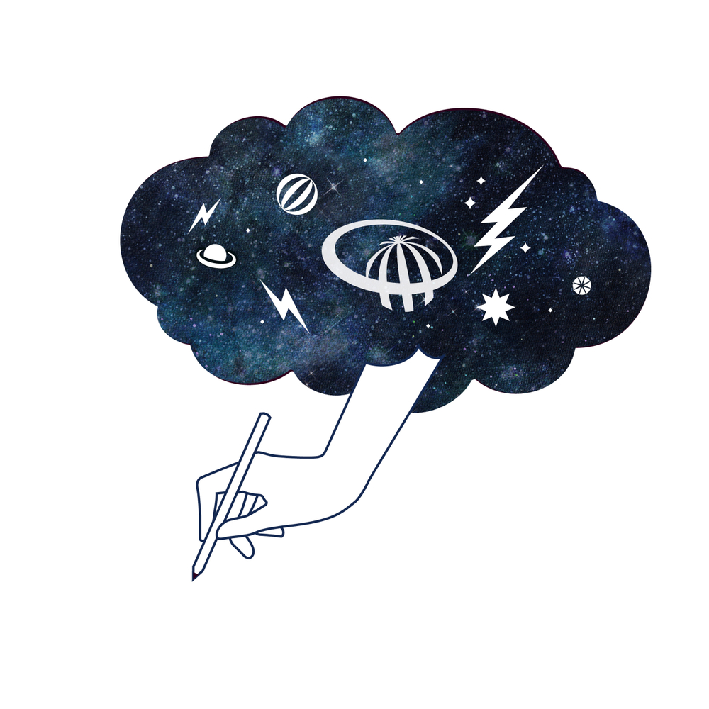 #RutBusterBook illustration features a cloud full of lightning, with a hand reaching down from the clouds to pick up a pen and write.