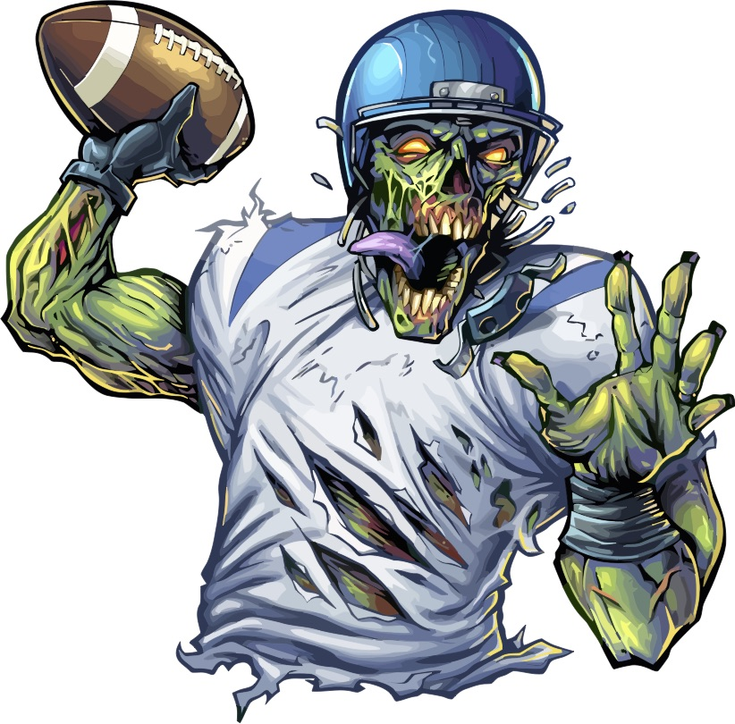 Turning a dumb jock into a zombie is one way to cliché characters in fiction (Image: A green zombie quarterback throws a football)