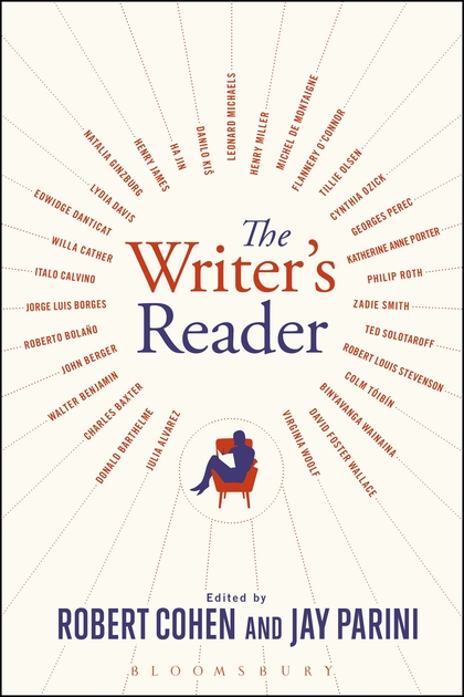 The cover of The Writer's Reader: Vocation, Preparations, Creation by Robert Cohen and Jay Parini features a man in a reading in an armchair surrounded by the names of writers in the anthology