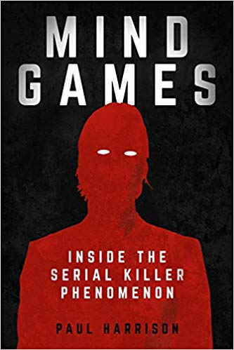 Mind Games, a true crime book pulled from shelves, was written by Paul Harrison. The cover features a red silouhette of a man with white eyes on a black background.
