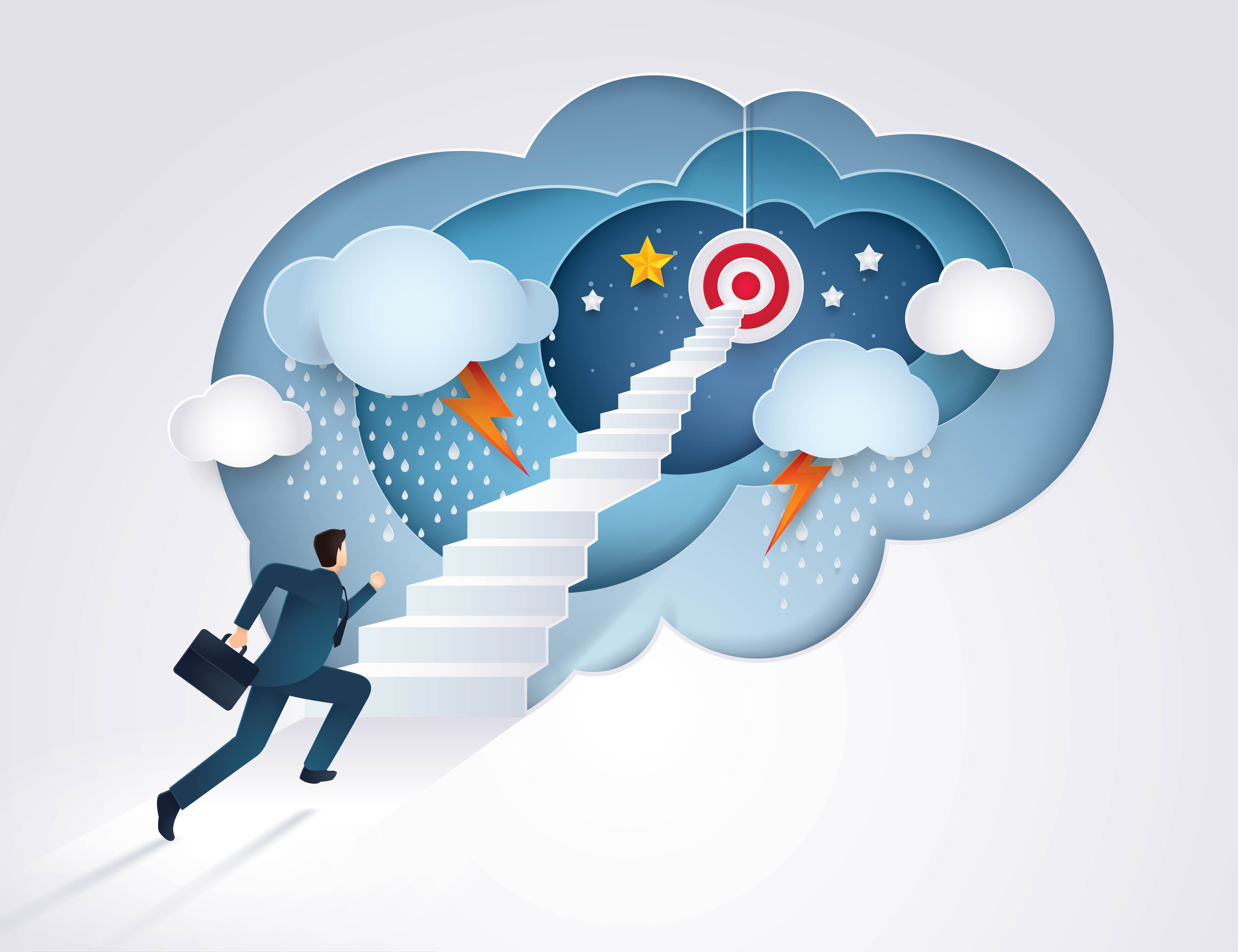 a path to professionalizing III: treat yourself like a pro. The image shows a man in a business suit climbing a staircase to reach a target in the sky.
