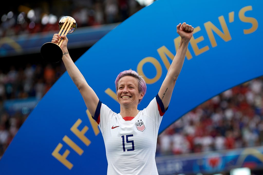 Megan Rapinoe celebrates her team's victory at the World Cup