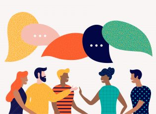How to effectively use dialogue tags in fiction. In this illustration, a diverse group of adults signify discussion with multi-colored speech bubbles hang over their head.