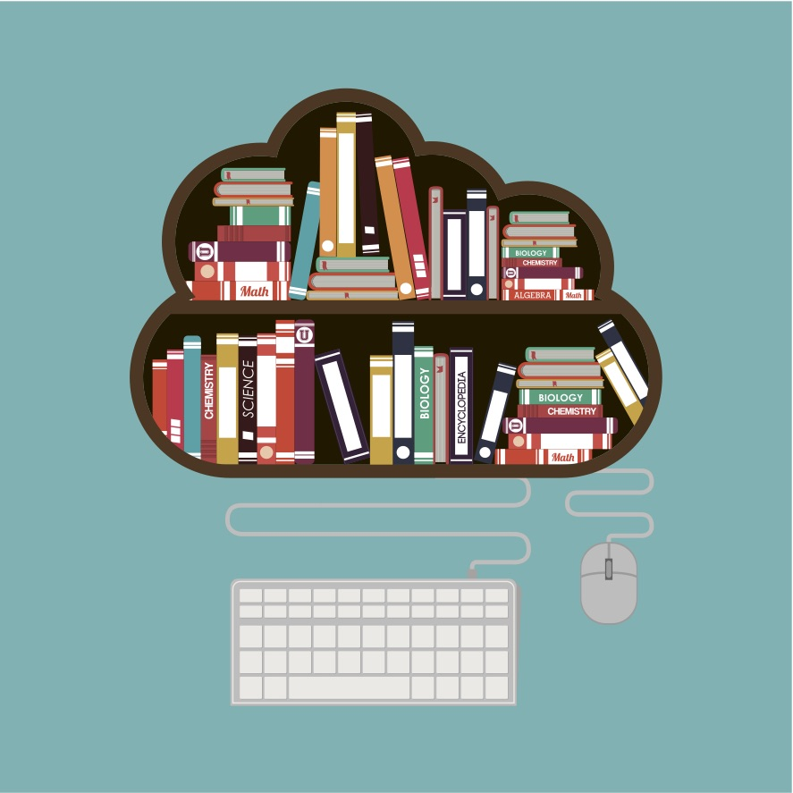 7 indie bookstores offering creative solutions to stay afloat despite COVID-19 closures. This illustration shows a cloud-shaped bookshelf poised above a computer mouse and keyboard, indicating online bookstore sales.