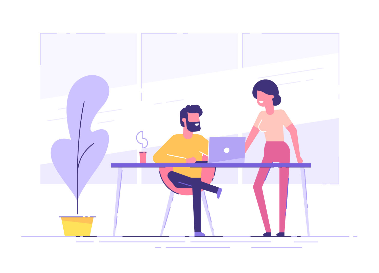 How to be a good critique partner. This image shows a young man is sitting at a desk with laptop and his colleague is pointing to a screen and giving advice.