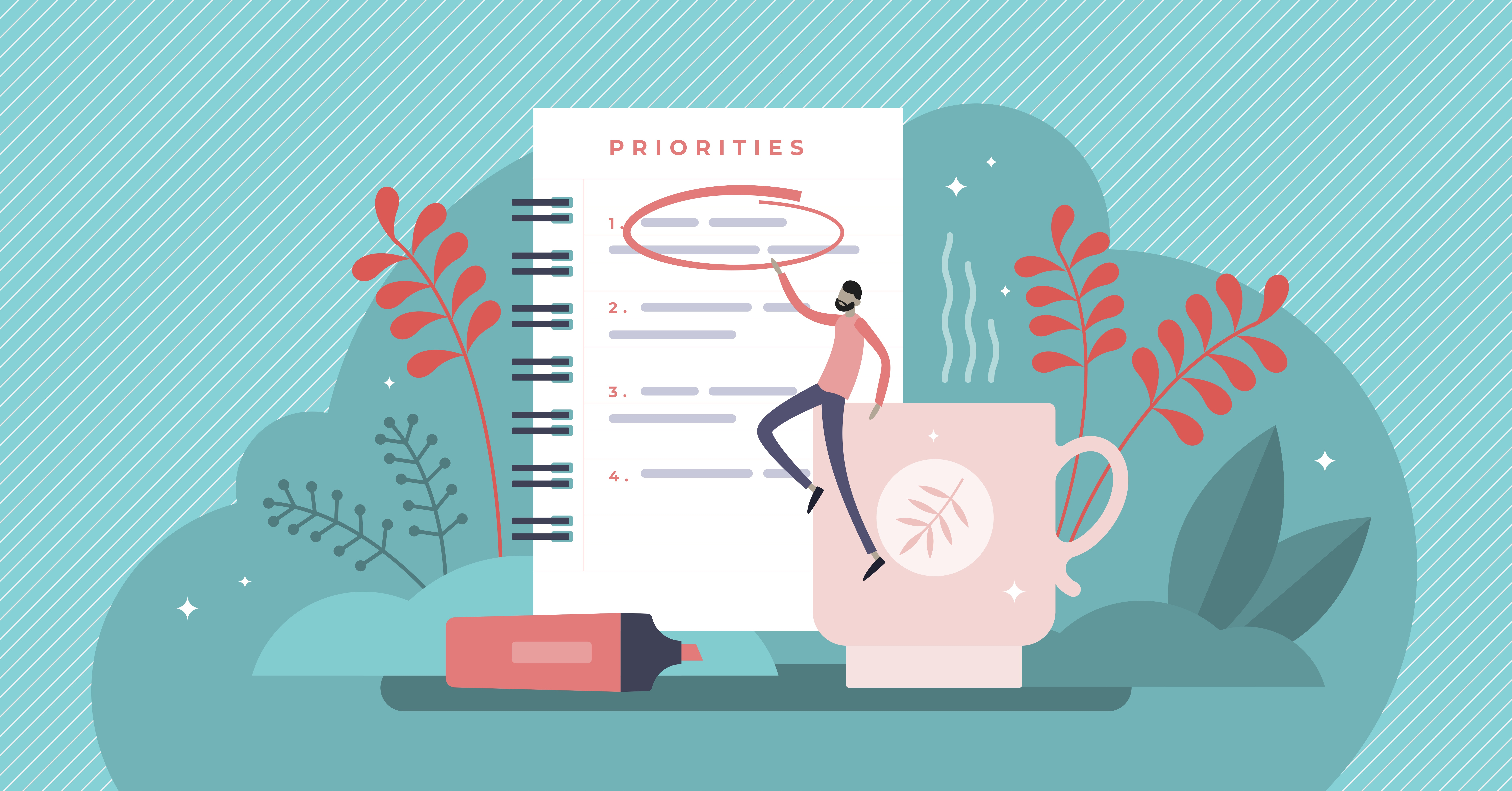 How to become a risk-free freelancer. This image shows a man perched upon a giant coffee cup, reaching to circle the top item on a larger-than-life list of priorities.