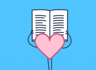 How to foster more empathy in your memoir. This illustration shows a large cartoon pink heart reading a book.