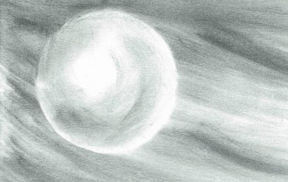A black-and-white pencil illustration of a rolling snowball.