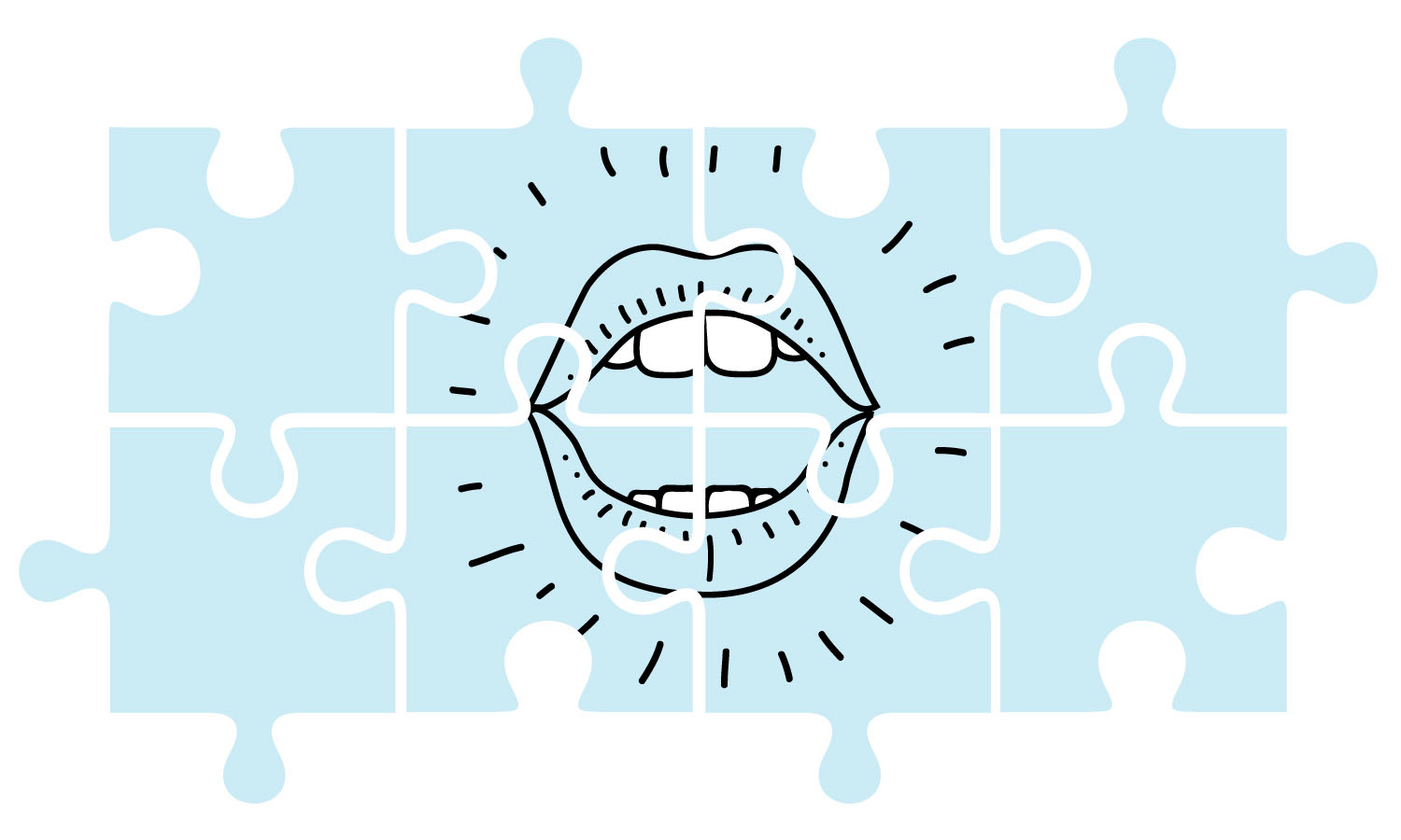 Skills & tools for shaping imperfect human conversation into a podcast episode. This illustration shows six puzzle pieces joining together to form a speaking mouth.