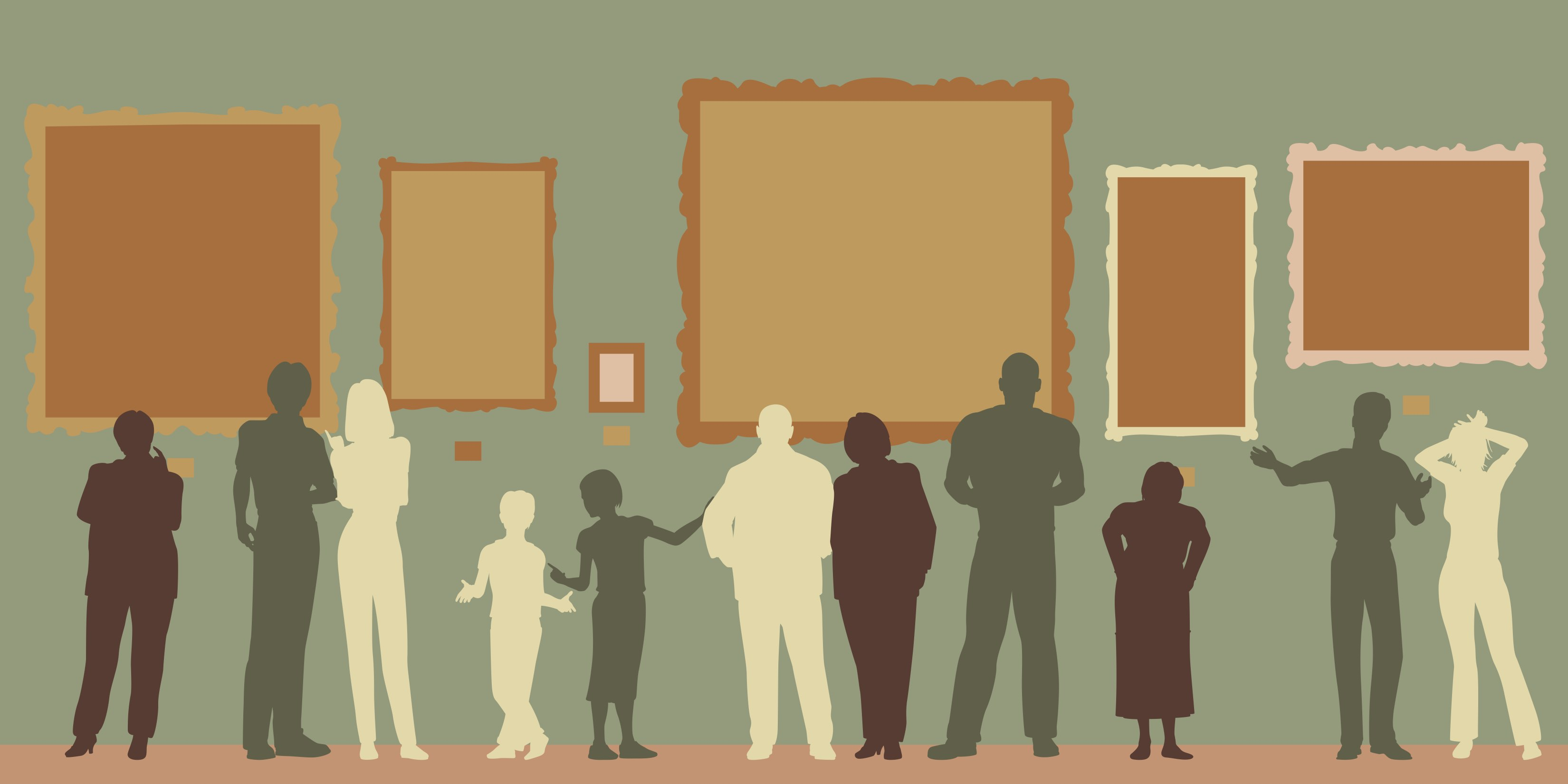 Where do agents look for new clients? This illustration shows a varied crowd of silhouttes looking at artwork in a museum.