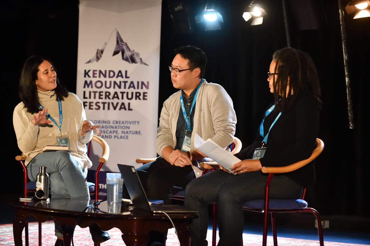 Founding editor of The Willowherb Review Jessica J. Lee, the poet Jay G Ying, and artist and writer Amanda Thomson at the 2019 Kendal Mountain Literature Festival. Photo courtesy of Kendal Mountain Literature Festival, 2019