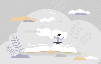 Should writers read poetry even if they don't understand it? This illustration shows a woman reading poetry as pages float off like birds into the skyline.