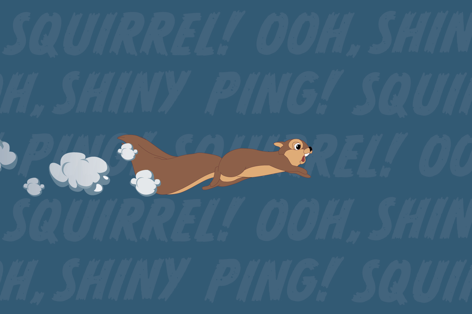 "Banish distractions and increase writing productivity with these focus-boosting tips. This image shows a cartoon squirrel running at top speed amidst a background of distracting words like ""Shiny!"" and ""Ping!"""