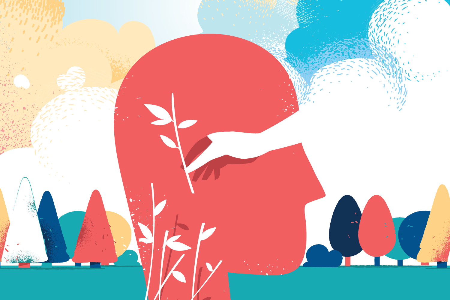 A brightly-colored abstract illustration shows a hand picking blooms from a character's mind.