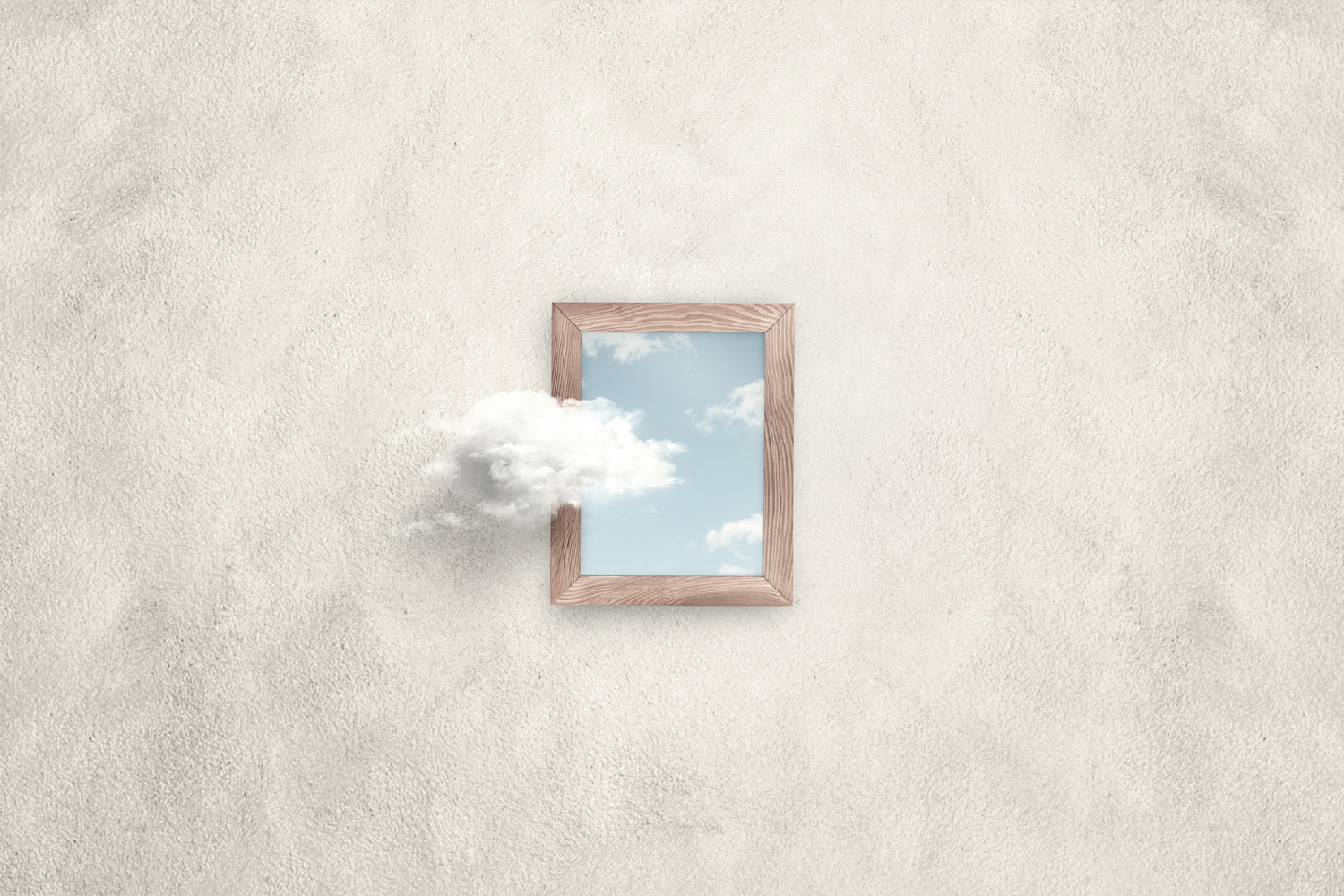 A window is centered in an otherwise blank view, offering a scenic view of a blue sky with a few clouds, while one cloud from outside drifts into the room.