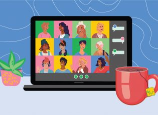 A group of illustrated people are pictured on a Zoom call on a laptop perched next to a coffee mug.