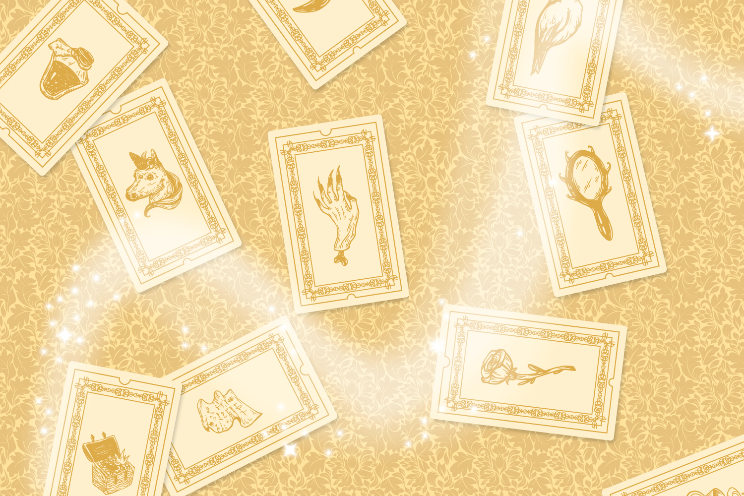 Illustrated fantastical cards swirl on a golden background