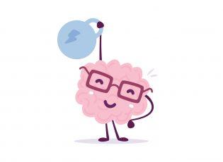 Gigi, a cartoon brain, hoists a weight in the air.